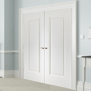 Image: Eindhoven 1 Panel Door Pair - 1/2 Hour Fire Rated - White Primed