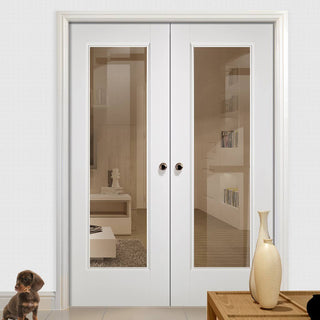 Image: Eindhoven 1 Pane Door Pair - Clear Glass - White Primed