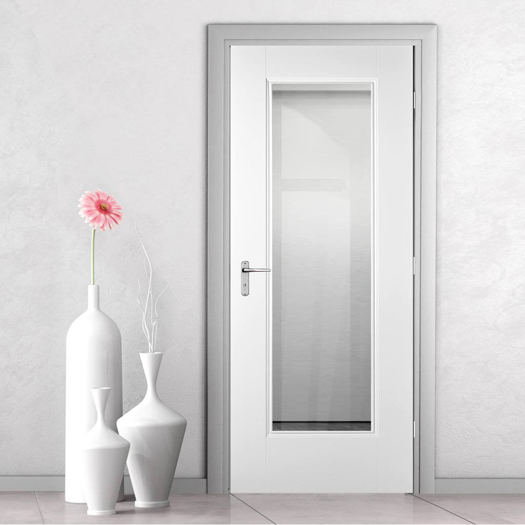 eindhoven 1l white primed door clear safety glass