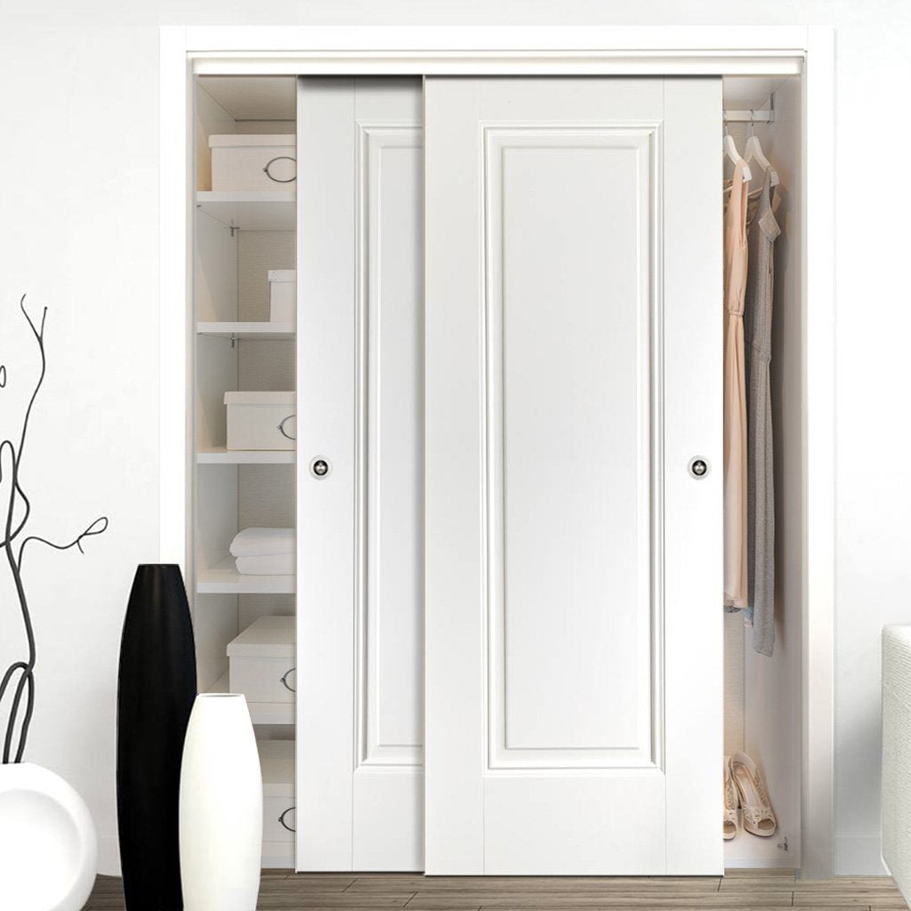 Thruslide Eindhoven 1 Panel 2 Door Wardrobe and Frame Kit - White Primed