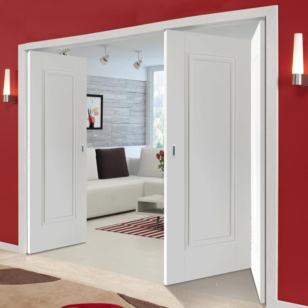 Three Folding Doors & Frame Kit - Eindhoven 1 Panel 2+1 - White Primed