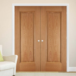 Image: Eindhoven 1 Panel Oak Fire Door Pair - 1/2 Hour Fire Rated - Prefinished