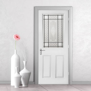 Image: White PVC eldon door with grained faces victorian style toughened glass