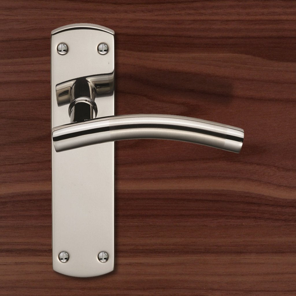 Steelworx CSLP1163B Curved Lever Handles on Latch Backplate
