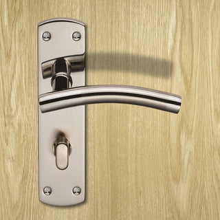 Image: Steelworx CSLP1163T Curved Bathroom Lever Lock Handles