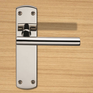 Image: Steelworx CSLP1164B T-Bar Lever Handles on Latch Backplate - 2 Finishes