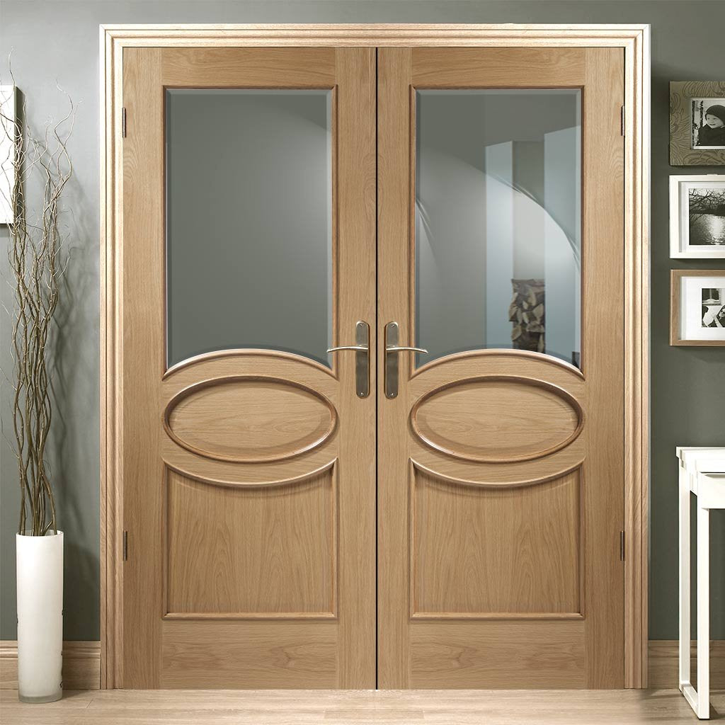 Calabria Oak Panel Door Pair Bevelled Clear Glass