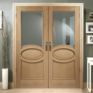 Image: Calabria Oak Panel Door Pair - Bevelled Clear Glass