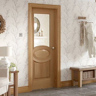 Image: Calabria Oak Panel Door with Bevelled Clear Safe Glass