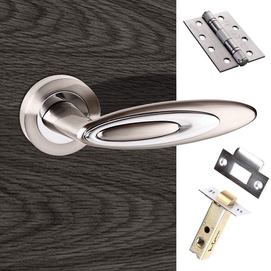 Senza Pari Elisse Fire Lever on Rose - Satin Nickel - Polished Chrome Handle Pack