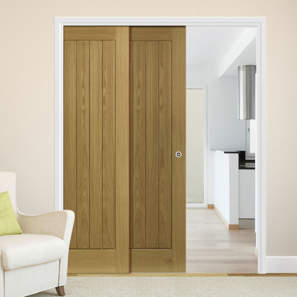 Ely Oak Veneer Staffetta Twin Telescopic Pocket Doors - Unfinished