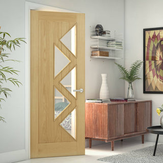 Image: Ely oak door with 5 triangular glass panes