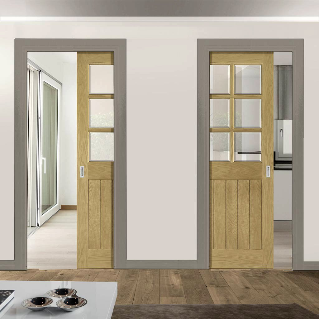 Ely Real American White Oak Veneer Unico Evo Pocket Doors - Clear Bevelled Glass - Prefinished