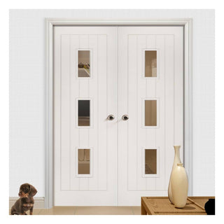 Image: Ely White Primed Door Pair - Clear Glass