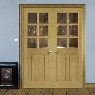 Image: Ely Real American White Oak Veneer Door Pair - Clear Bevelled Glass - Prefinished