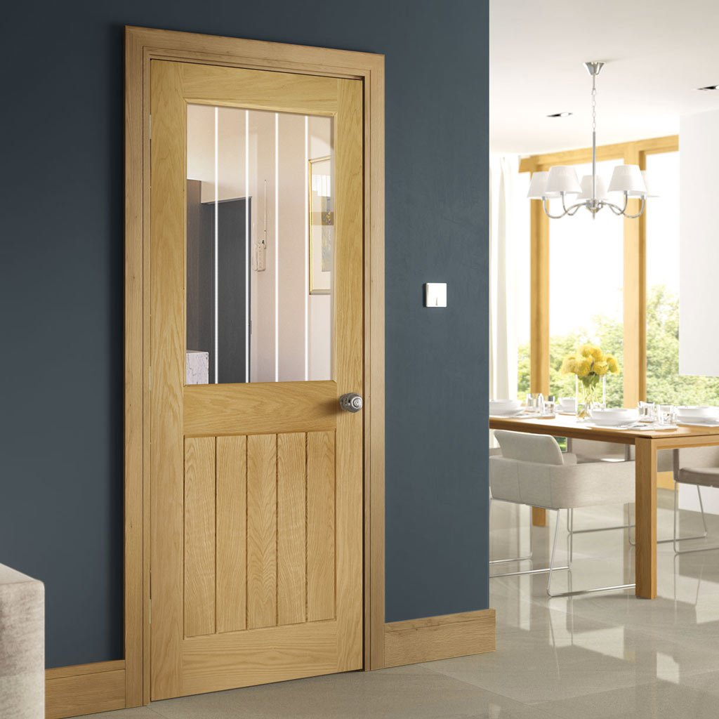 Ely 1L Oak Door - Clear Etched Glass - Unfinished
