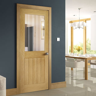 Image: Ely 1L Top Pane Oak Door - Clear Etched Glass - Unfinished from Deanta UK
