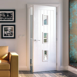 Image: Ely White Primed Door - Clear Glass from Deanta UK