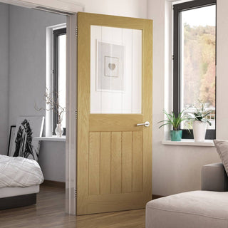 Image: Ely oak cottage style door with bevelled safety glass