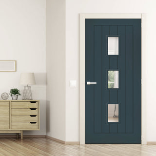 Image: Prefinished Graphite Grey Colour Ely Door - Clear Glass