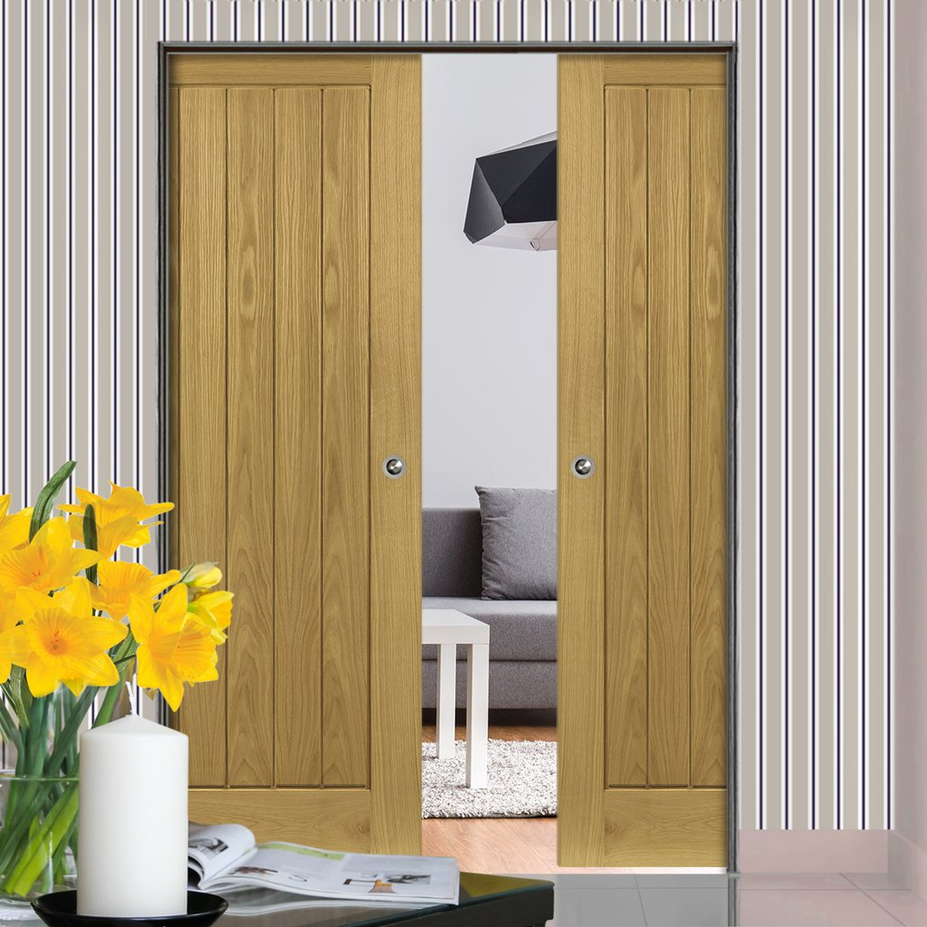 Ely Oak Absolute Evokit Double Pocket Doors - Prefinished