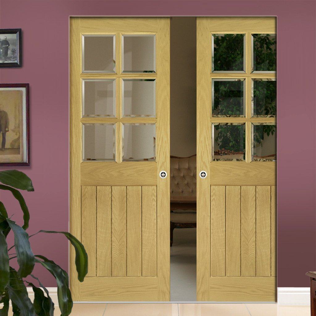 Ely Oak Absolute Evokit Double Pocket Doors - Clear Bevelled Glass -Unfinished
