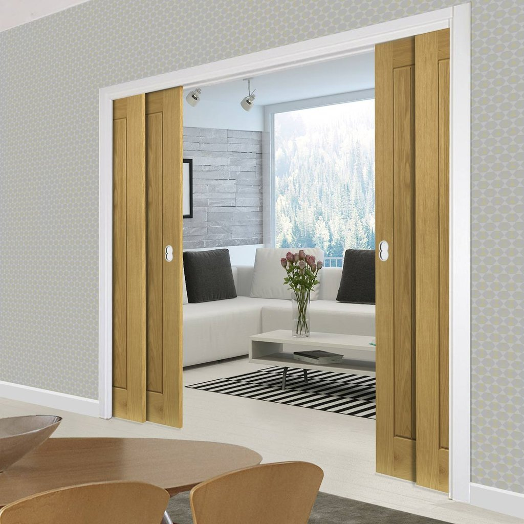 Ely American White Oak Veneer Staffetta Quad Telescopic Pocket Doors - Prefinished