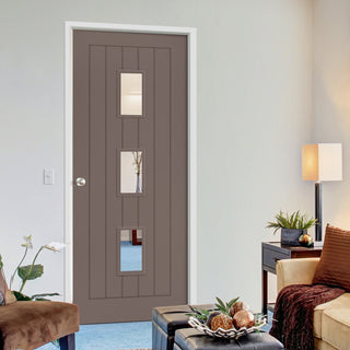 Image: Prefinished Mocha Brown Colour Ely Door - Clear Glass