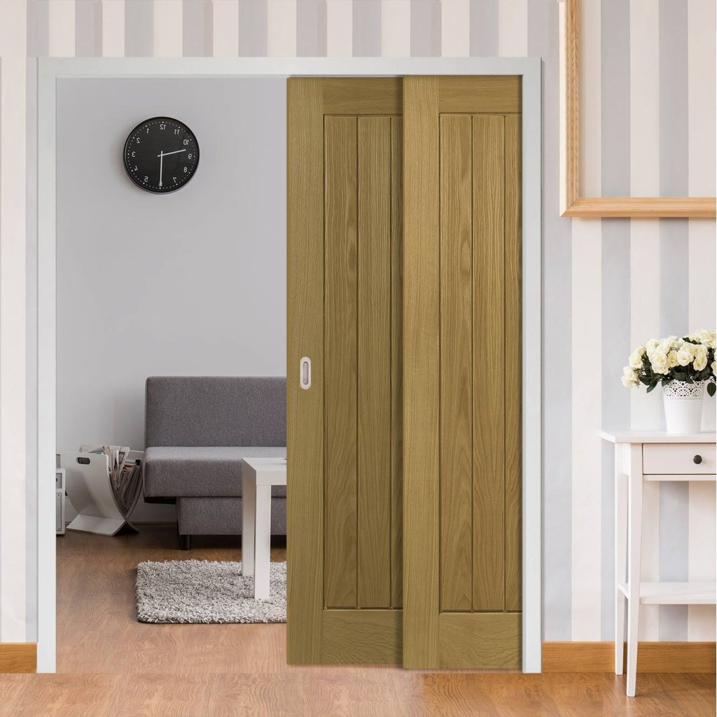 Ely American White Oak Veneer Staffetta Twin Telescopic Pocket Doors - Prefinished