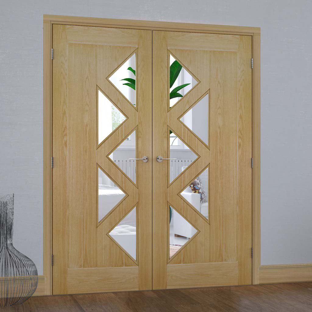 Ely 5 Glazed Oak Door Pair - Prefinished