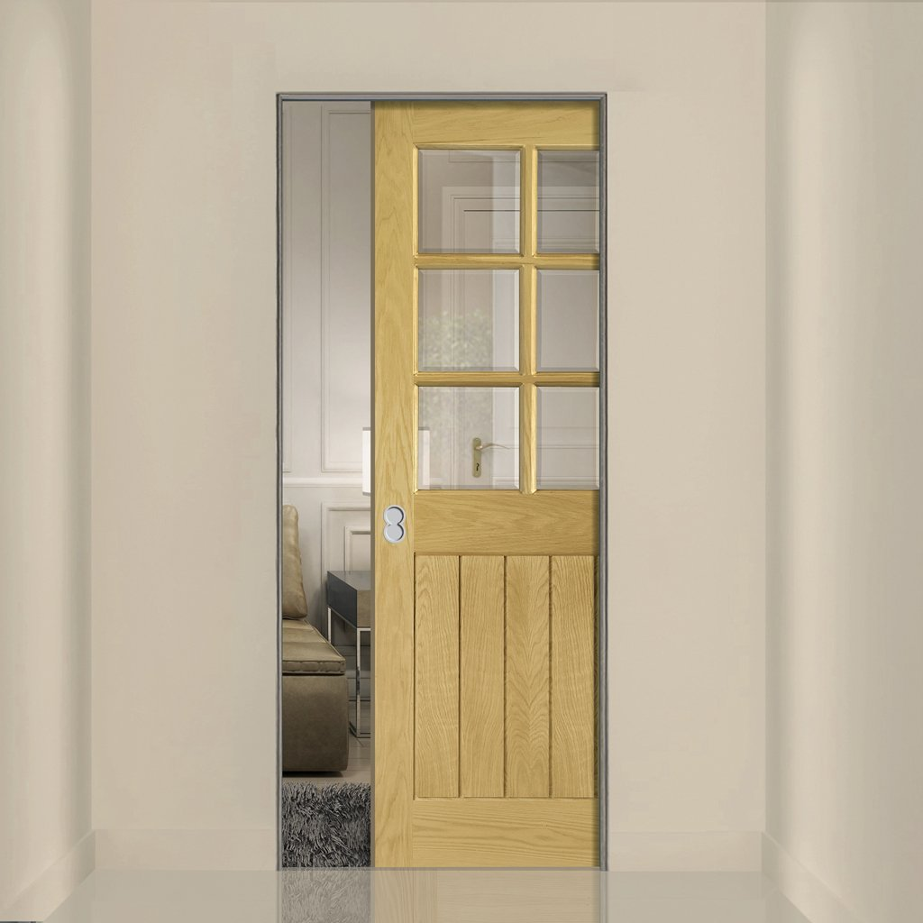 Ely Oak Absolute Evokit Single Pocket Door - Clear Bevelled Glass - Prefinished