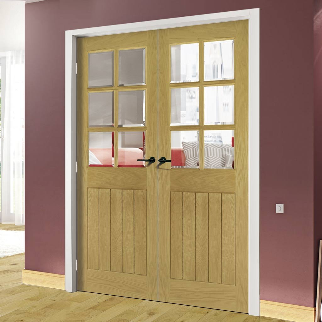 Ely Unfinished Oak Door Pair - Clear Bevelled Glass