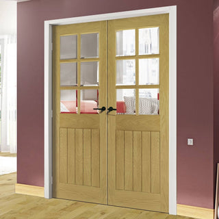 Image: Ely Oak Door Pair - Clear Bevelled Glass - Unfinished