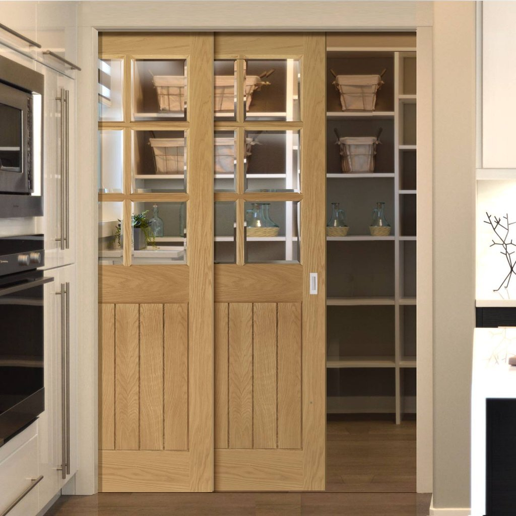 Ely American White Oak Veneer Staffetta Twin Telescopic Pocket Doors - Clear Bevelled Glass - Prefinished
