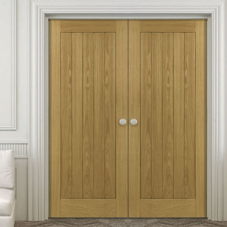 Image: Ely Oak Door Pair - Unfinished