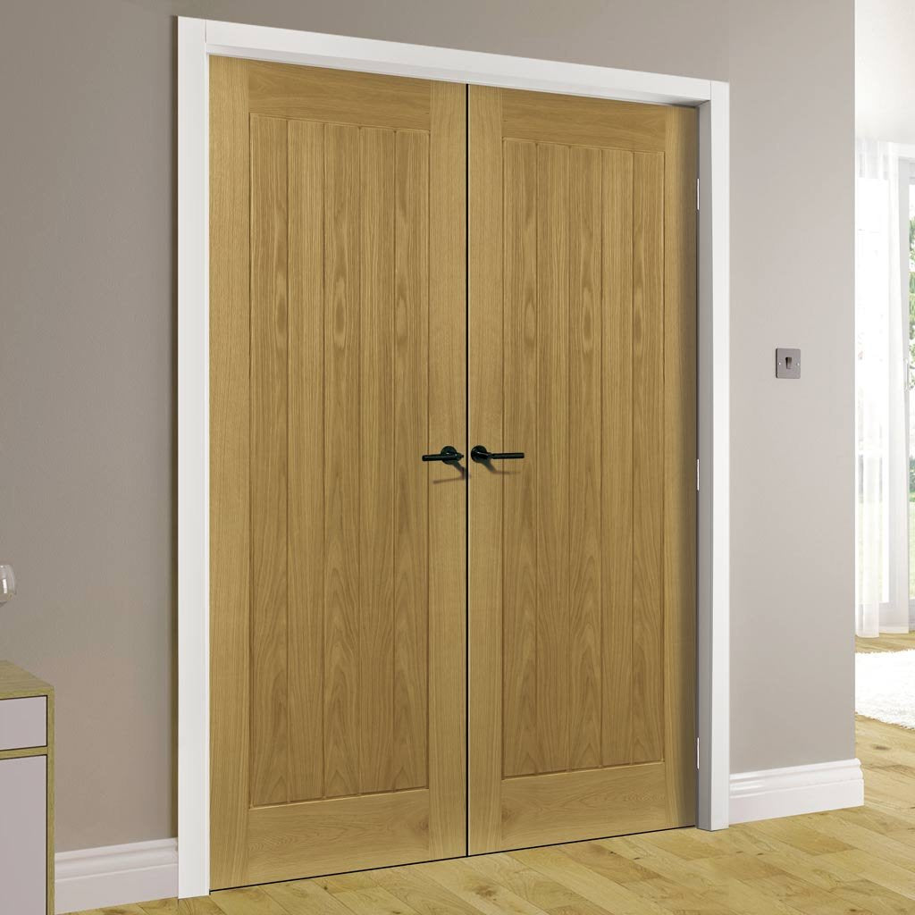 Ely Real American White Oak Veneer Door Pair - Prefinished