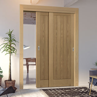 Image: Two Sliding Doors and Frame Kit - Ely Oak Door - Unfinished