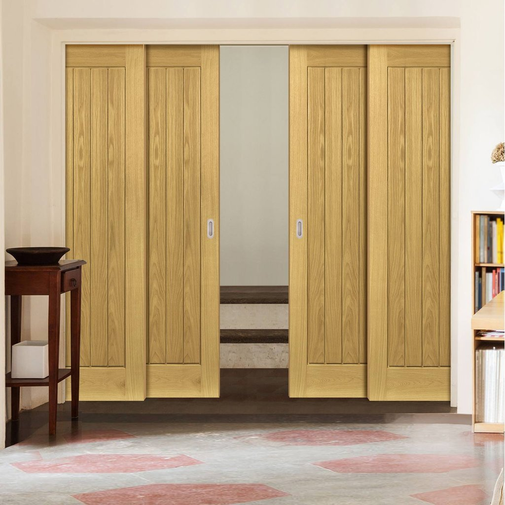 Ely Oak Veneer Staffetta Quad Telescopic Pocket Doors - Unfinished