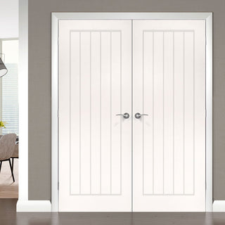 Image: Ely White Primed Door Pair