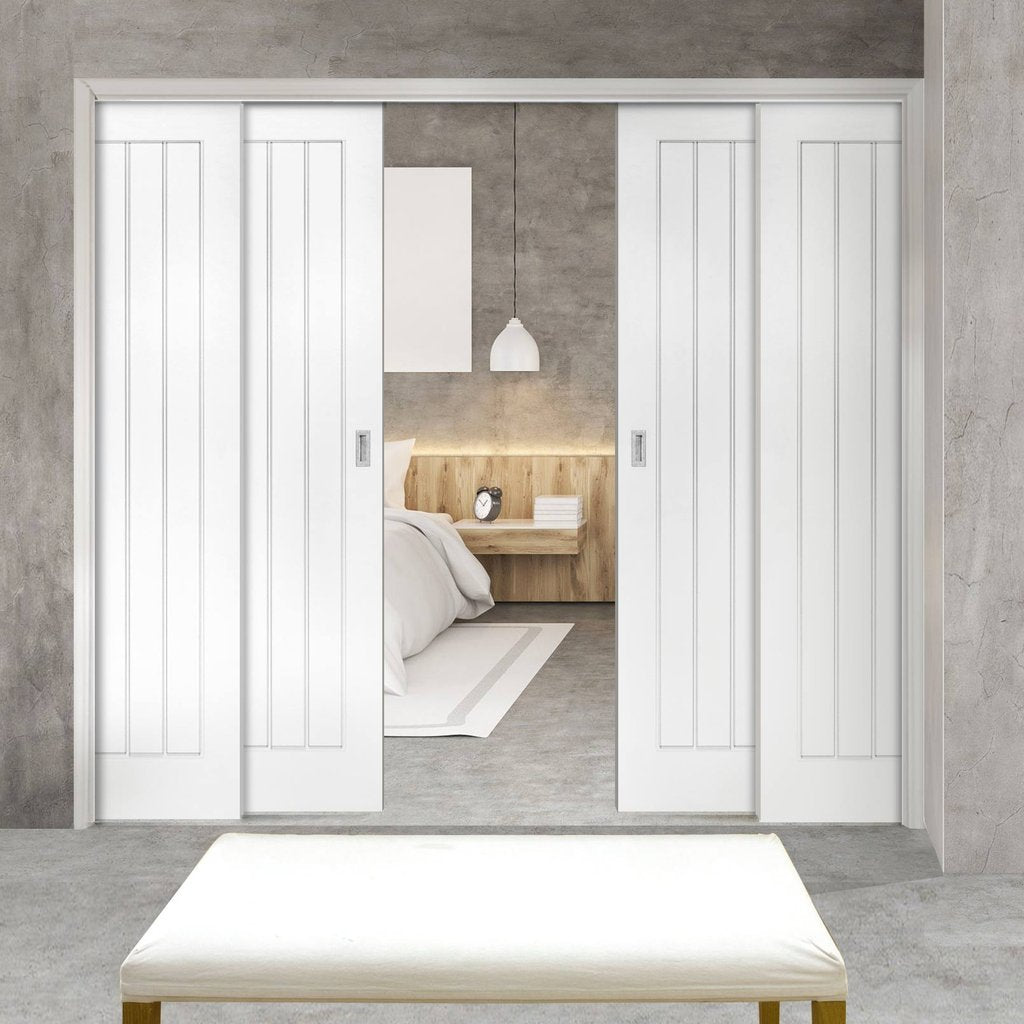 Ely Staffetta Quad Telescopic Pocket Doors - White Primed