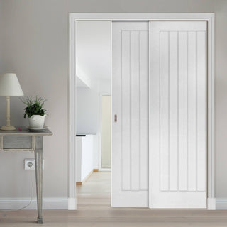 Image: Ely Staffetta Twin Telescopic Pocket Doors - White Primed