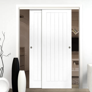 Image: Two Sliding Doors and Frame Kit - Ely White Primed Door