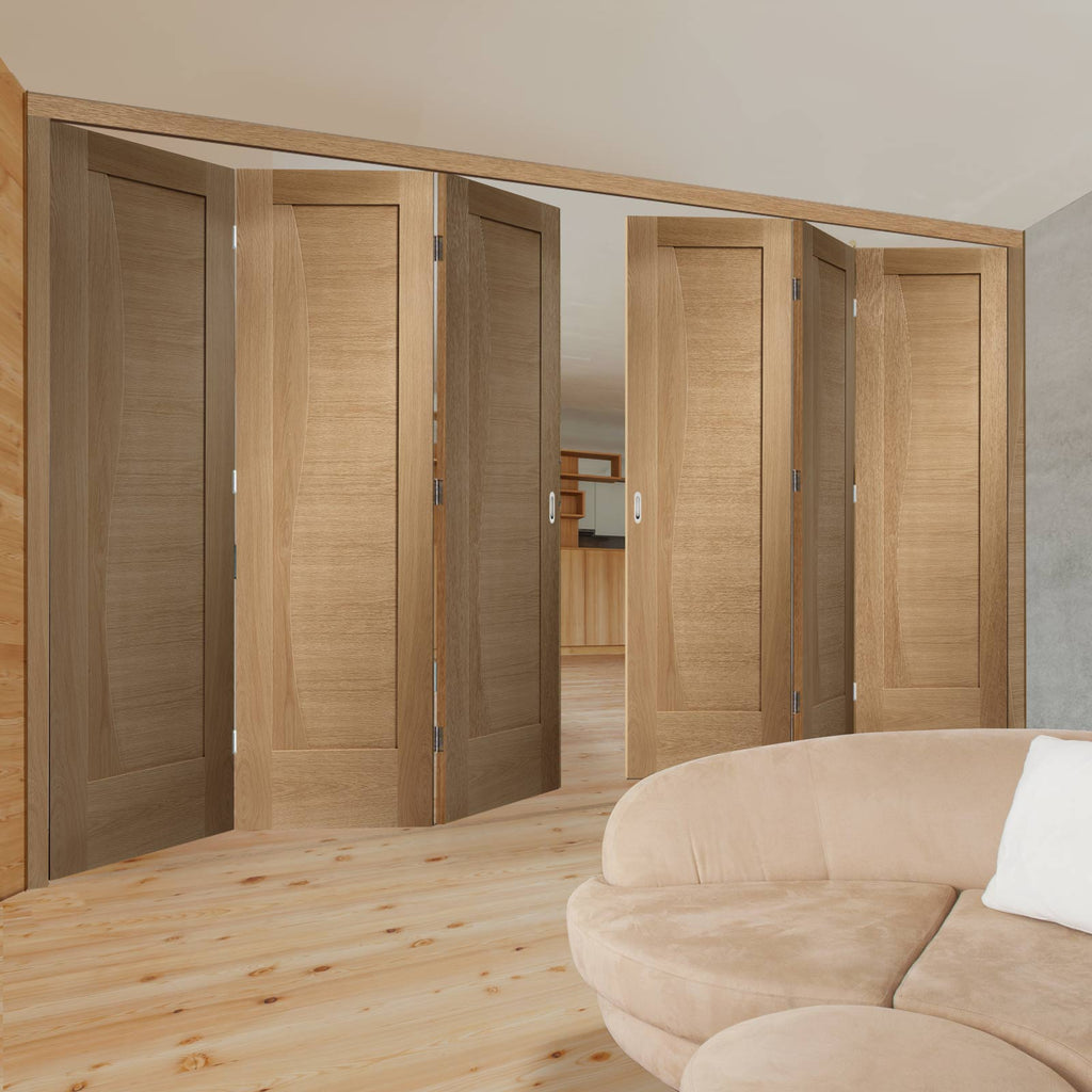 Six Folding Doors & Frame Kit - Emilia Oak Flush 3+3 - Stepped Panel Design - Unfinished