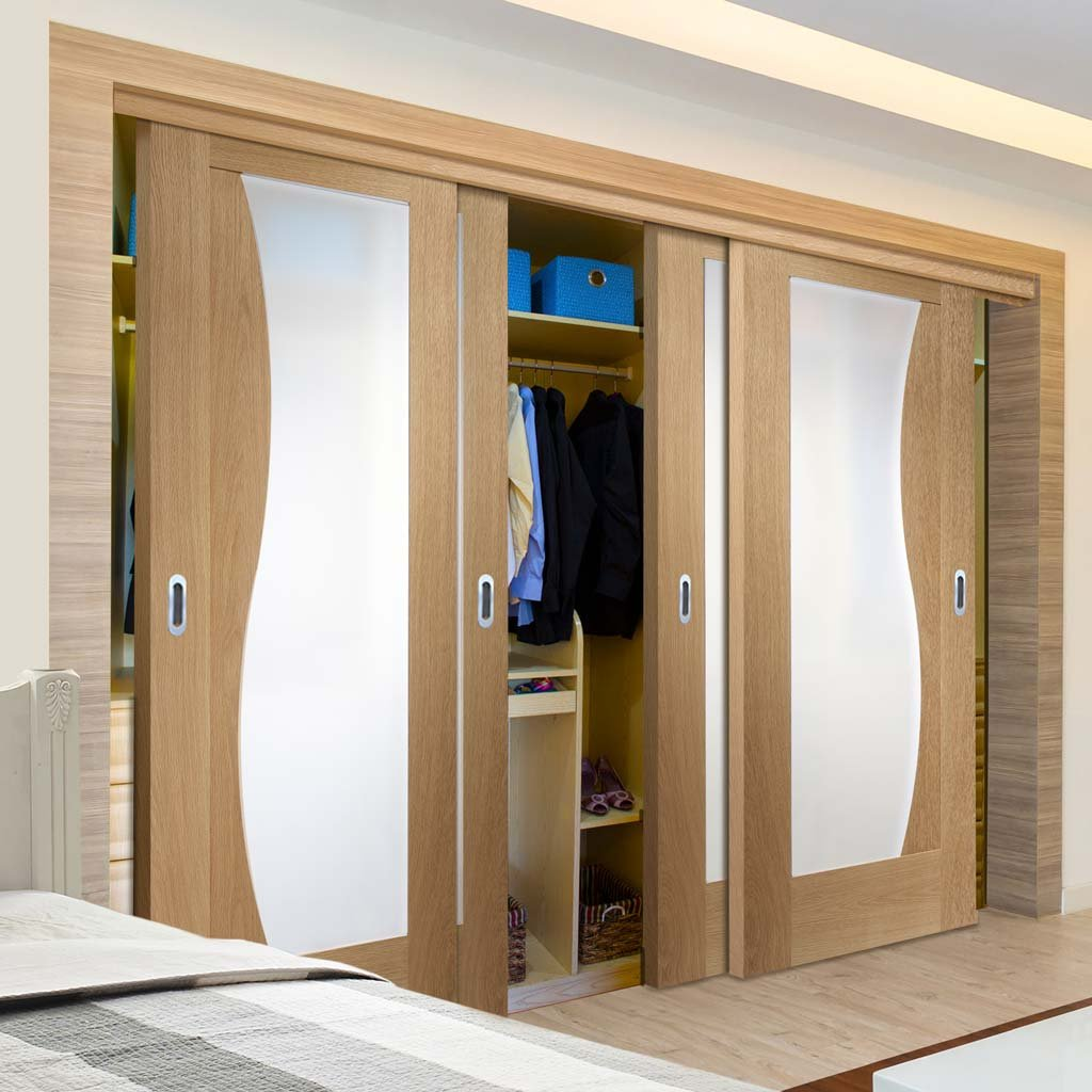 Bespoke Thruslide Emilia Oak Glazed 4 Door Wardrobe and Frame Kit - Stepped Panel Design