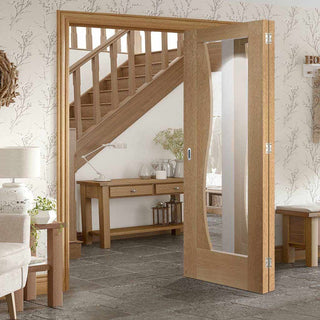 Image: Two Folding Doors & Frame Kit - Emilia Oak Flush 2+0 - Stepped Panel Design - Clear Glass - Unfinished