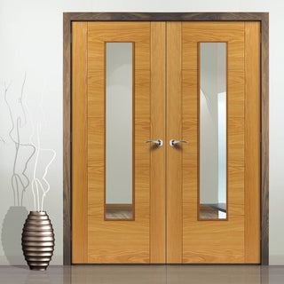 Image: Emral Oak Veneered Fire Door Pair with Clear Glass is 30 Minute Fire Rated and Pre-Finished