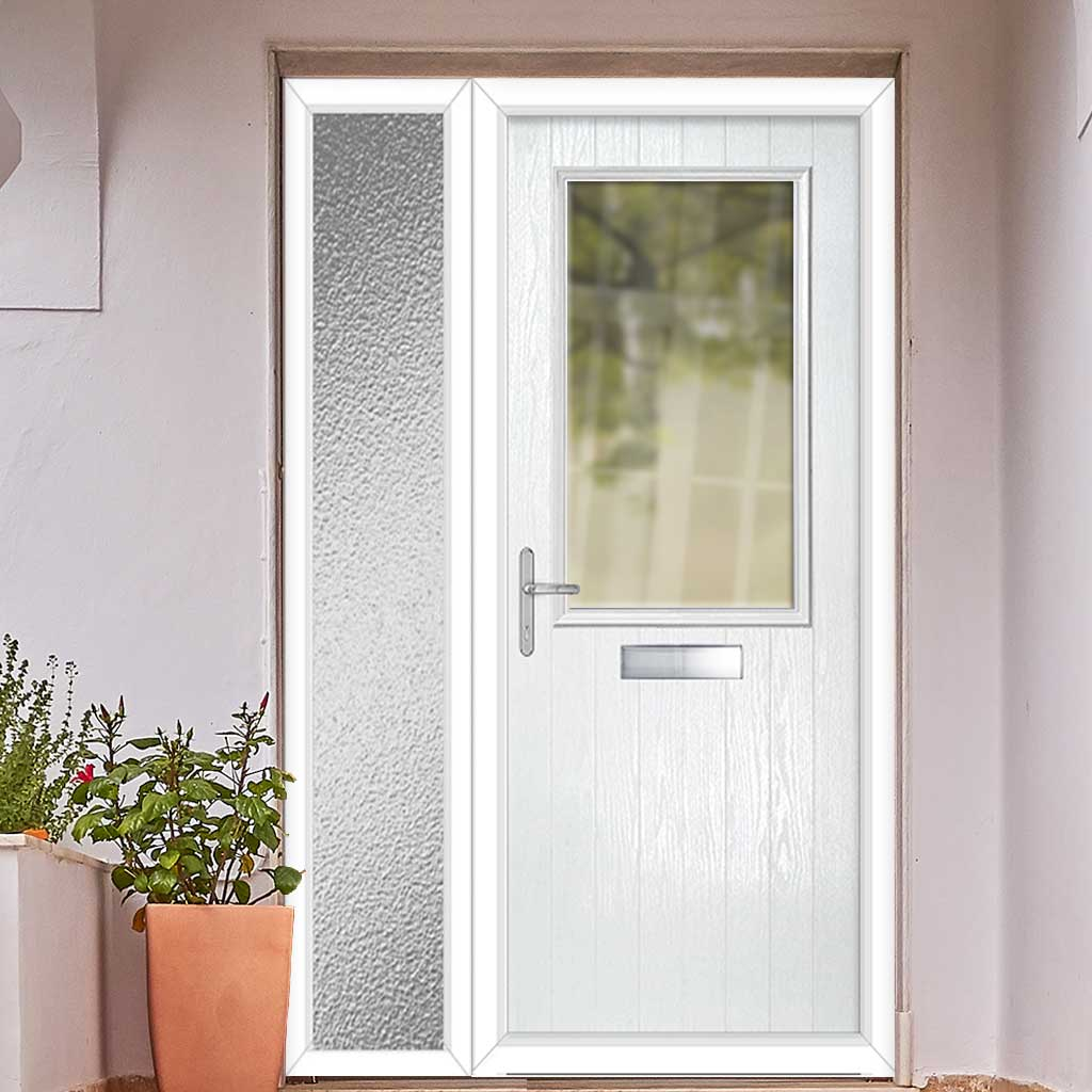 Cottage Style Escala 1 Composite Door Set with Single Side Screen - Clear Glass - Shown in White