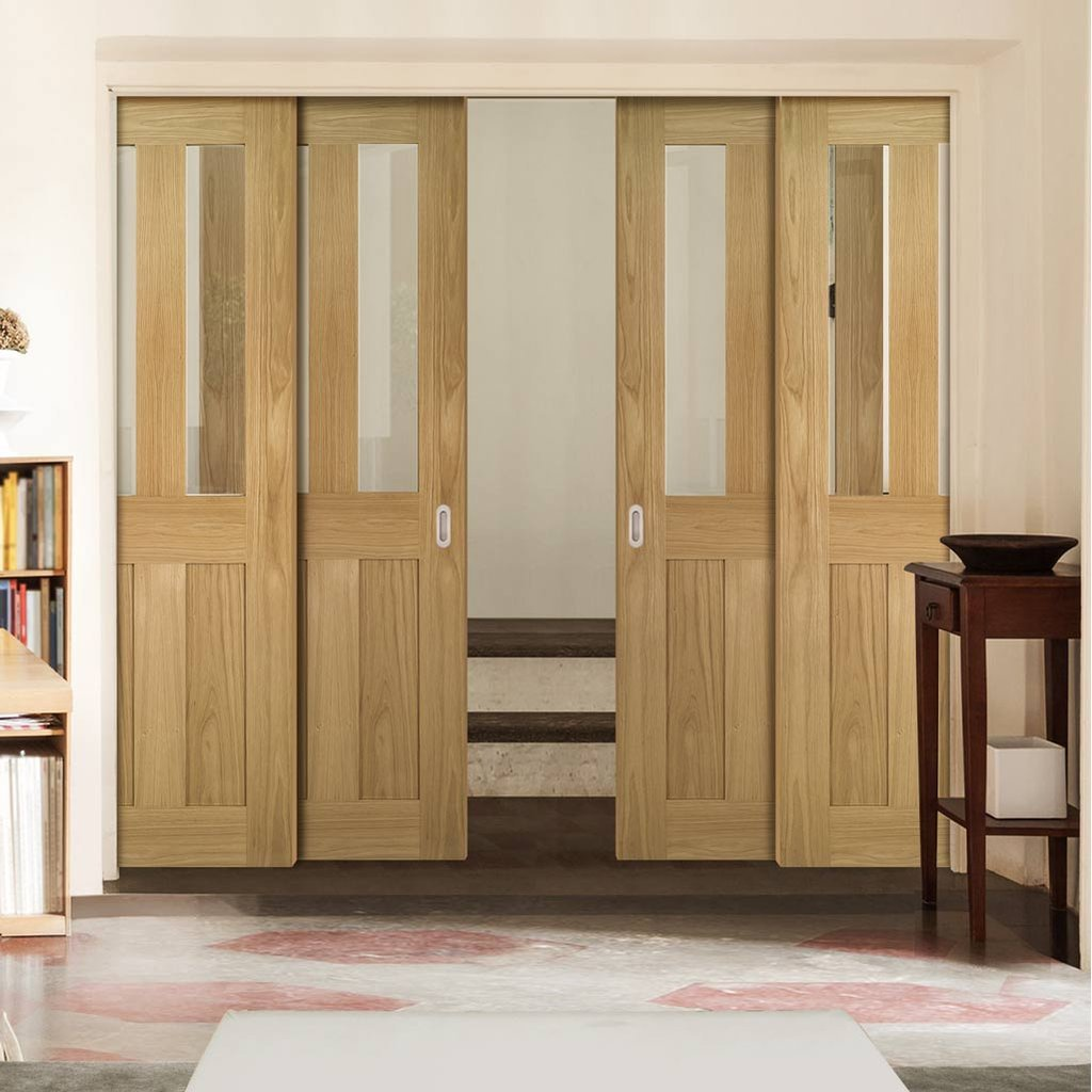 Eton American White Oak Veneer Staffetta Quad Telescopic Pocket Doors - Clear Glass - Unfinished