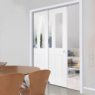 Image: Eton Victorian Shaker Staffetta Twin Telescopic Pocket Doors - Clear Glass - White Primed