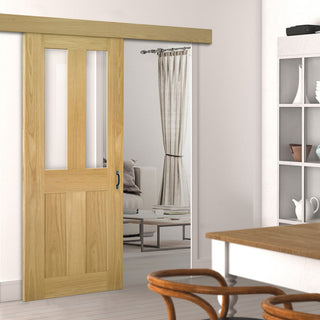 Image: Single Sliding Door & Wall Track - Eton Real American White Oak Veneer Door - Clear Glass - Unfinished